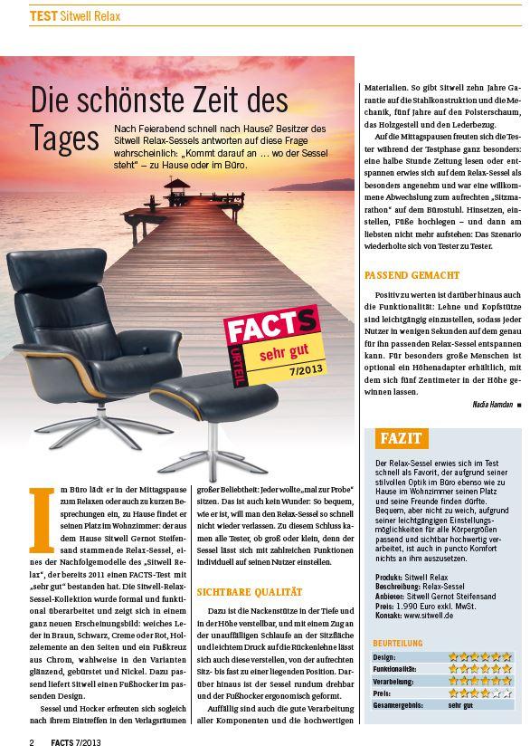 Sitwell Test sehr gut - Test- und Wirtschaftsmagazin FACTS 7-2013