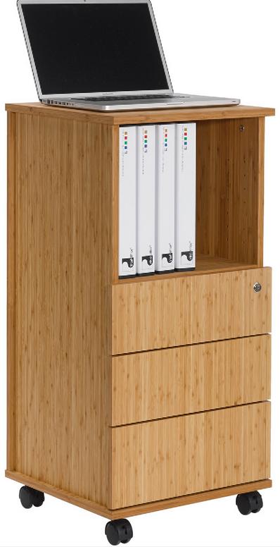 Bambus Büro-und Roll-Container mit drei Schubladen und Ordnerfach